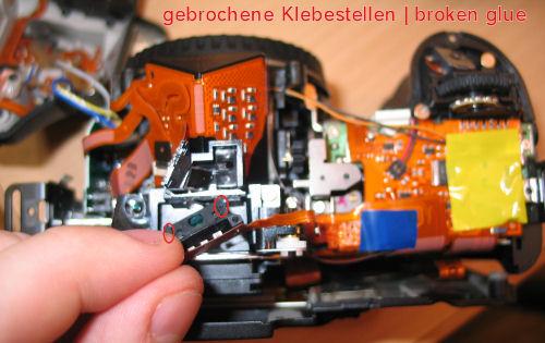gebrochene Klebestellen, abgefallener Belichtungsmesser 30D - Broken Glue